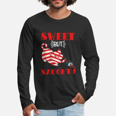 Reindeer Sweet But Naughty Merry Christmas Happy New Year - Men's Premium Longsleeve Shirt