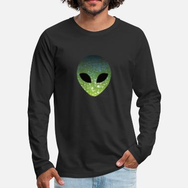 Alien Head Green Alien Face - Mannen premium longsleeve