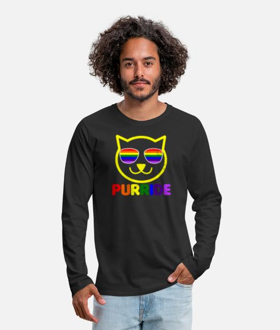 GawkClothing Long-Sleeved Shirts - Cat LGBT Purride Gay Gift - Men's Premium Longsleeve Shirt black