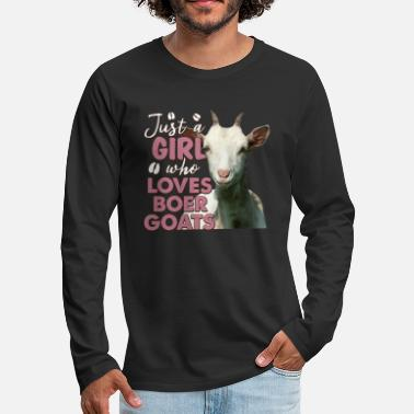 Author Just A Girl Who Loves Boer Goats Funny Gift - Men's Premium Longsleeve Shirt