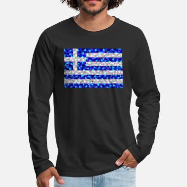 Triangle Greece flag low poly diamond style - Men's Premium Longsleeve Shirt