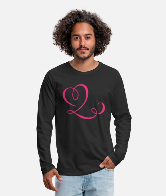 Wedding Day Long Sleeve Shirts - heart & ribbon - Men's Premium Longsleeve Shirt black