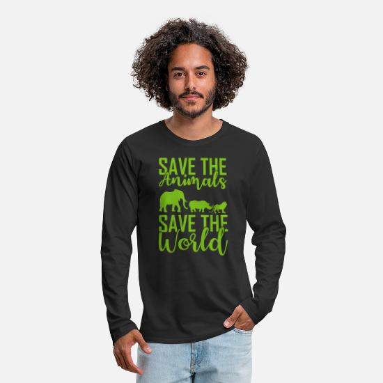 Animals Long Sleeve Shirts - Save Animals and Earth Save the world - Men's Premium Longsleeve Shirt black