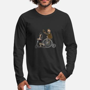 Scooters Meet Cyclists and e-scooters - dark underground - Men's Premium Longsleeve Shirt