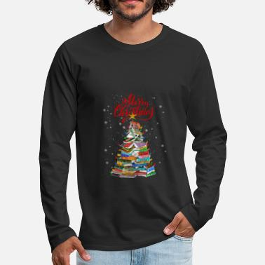 Meme Christmas Book Tree Lights T Shirt - Männer Premium Langarmshirt