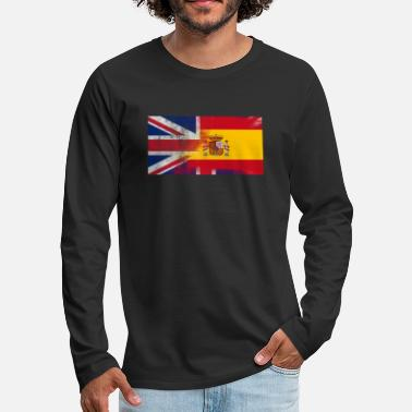 Spanish British Spanish Half Spain Half UK Flag - Men's Premium Longsleeve Shirt