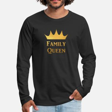 Love With Heart Family Queen with Crown in Gold Family and Friends - Männer Premium Langarmshirt