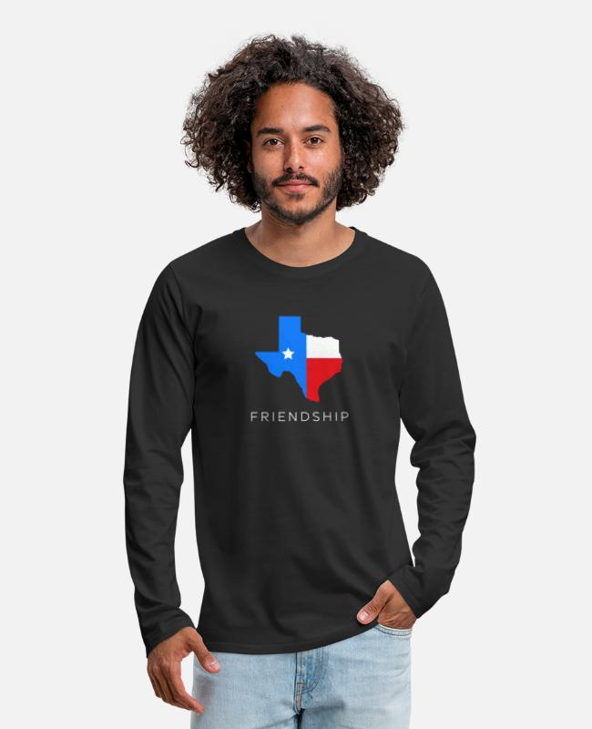 Friendship Long-Sleeved Shirts - Texan friendship design for fans of the lone - Men's Premium Longsleeve Shirt black