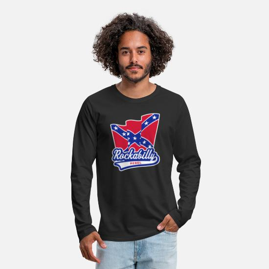Rockabilly Long sleeve shirts - Rockabilly Rebel Flag - Men's Premium Longsleeve Shirt black