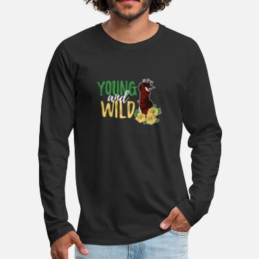 Farming Young And Wild Girl Women Roses Pony Mantra - Men's Premium Longsleeve Shirt