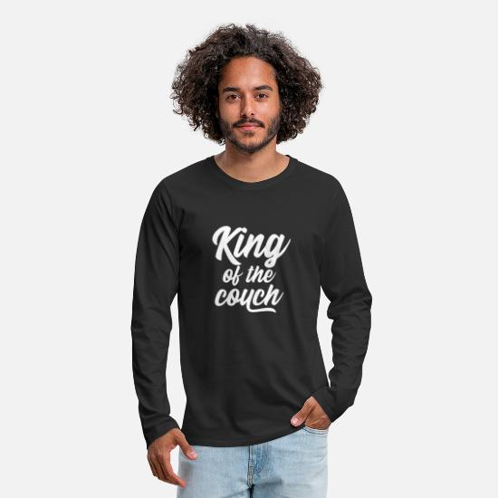 Couch Long Sleeve Shirts - King of the couch white - Men's Premium Longsleeve Shirt black