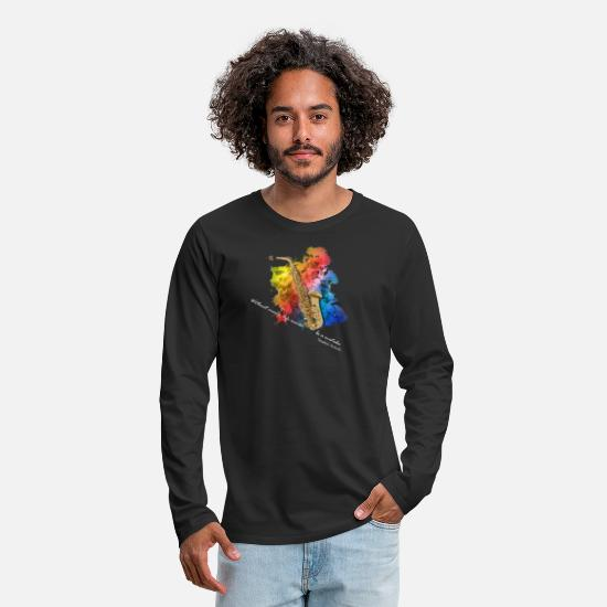 Gift Idea Long Sleeve Shirts - saxophone - Men's Premium Longsleeve Shirt black