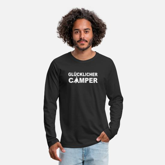 Camper Long sleeve shirts - Happy camper - campsite - Men's Premium Longsleeve Shirt black