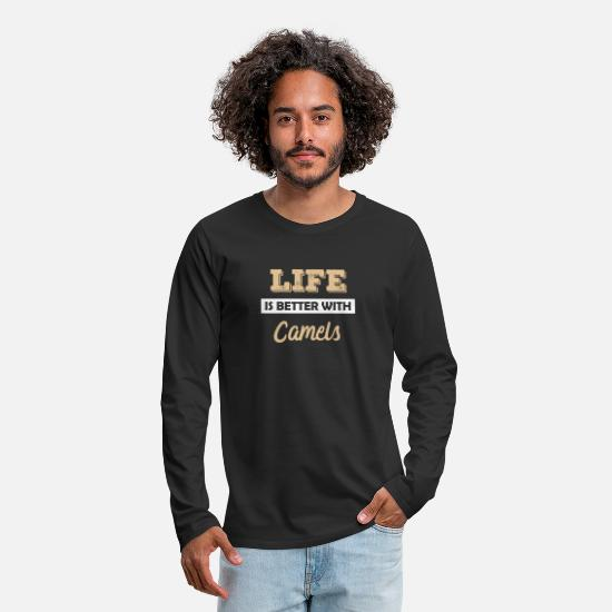 Gift Idea Long sleeve shirts - Camel dromedary llama alpaca animal gift idea - Men's Premium Longsleeve Shirt black