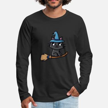 Witch Cat with witch hat on witches broom - Men's Premium Longsleeve Shirt