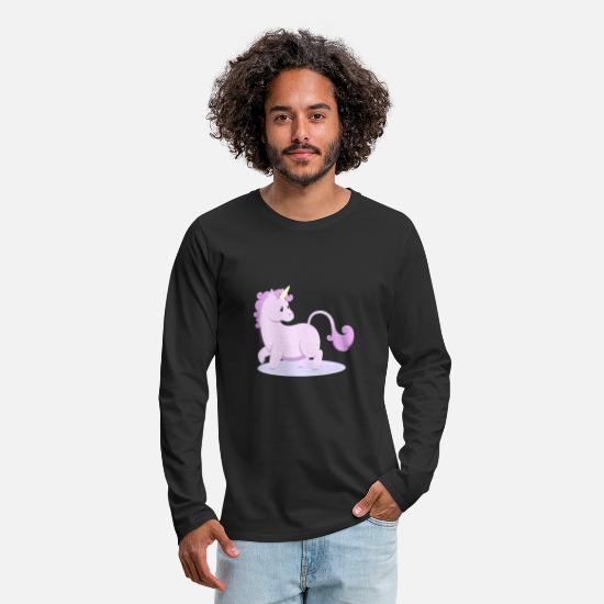 Magic Long Sleeve Shirts - Kawaii fantasy animals - Unicorn - Men's Premium Longsleeve Shirt black