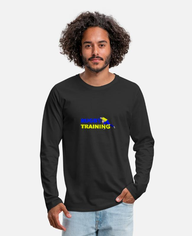 Training Long-Sleeved Shirts - RUGBY TRAINING Blue and yellow - Men's Premium Longsleeve Shirt black