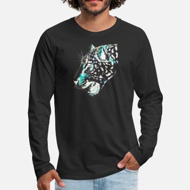 Snow Leopard drawing - Men's Premium Longsleeve Shirt