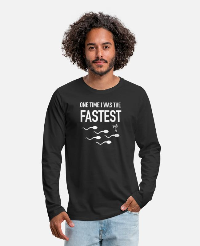 Competition Long-Sleeved Shirts - One Time I Was The FASTEST - Men's Premium Longsleeve Shirt black
