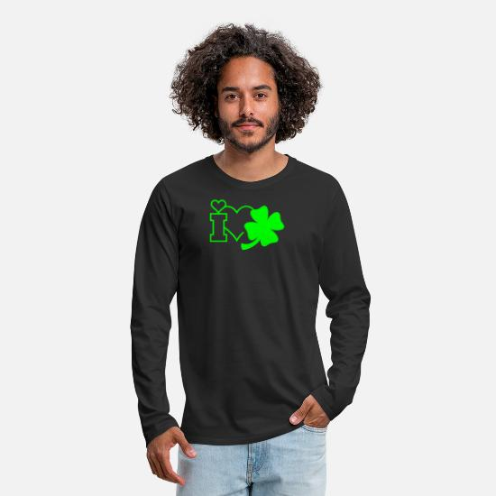 Romantic Long sleeve shirts - Lucky clover / four leaved clover (1c) - Men's Premium Longsleeve Shirt black