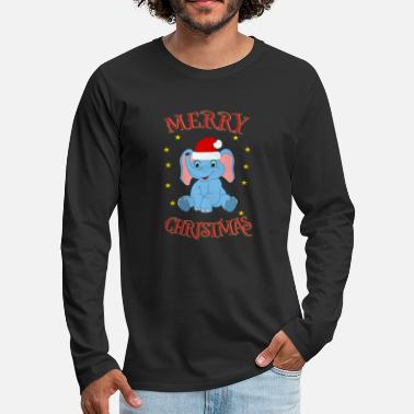 North Merry Christmas Santa baby elephant - Men's Premium Longsleeve Shirt