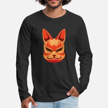 Smiling Kitsune Mask. Cool Japanese Fox - Men's Premium Longsleeve Shirt