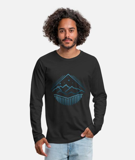 Hiking Long sleeve shirts - Mountains lines - Men's Premium Longsleeve Shirt black