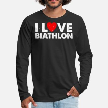 Due I Love Biathlon T-Shirt Gift Cross-Country - Maglietta maniche lunghe premium uomo