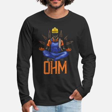 Worker Ohm Meditating Electrician Construction - Premium långärmad T-shirt herr