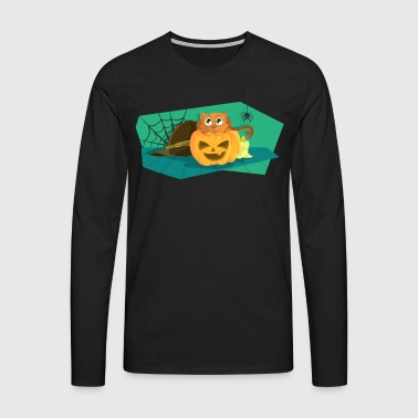 Halloween pumpkin with cat and spider - Men's Premium Longsleeve Shirt