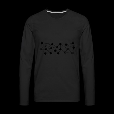 Byteball crypto love tangle graph black heart - Mannen Premium shirt met lange mouwen
