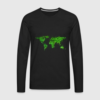 World Map Environmental Protection - Långärmad premium-T-shirt herr