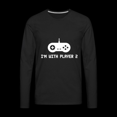 Funny Video Game I'm With Player 2 - Männer Premium Langarmshirt