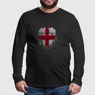 Funny England Flag Ripped Abs Muscles - Männer Premium Langarmshirt