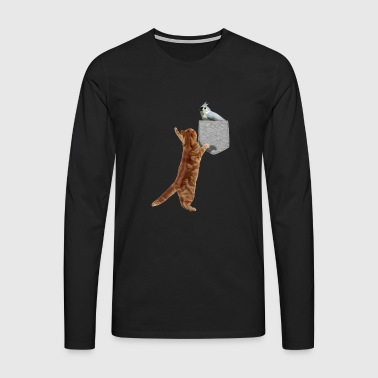 Cat Reaching Tufted Titmouse I Fake Print-On - Långärmad premium-T-shirt herr