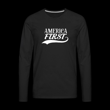 ★ America First ★ Donald Trump republicano USA MAGA - Camiseta de manga larga premium hombre