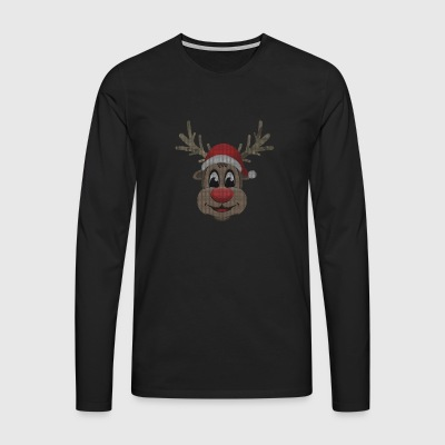cute reindeer gift Christmas Ugly Sweater - Men's Premium Longsleeve Shirt
