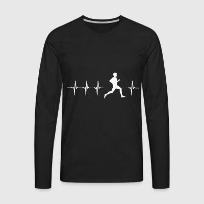 I love running (running heartbeat) - Men's Premium Longsleeve Shirt