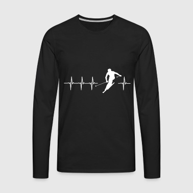 I love skiing (ski heartbeat) - Men's Premium Longsleeve Shirt