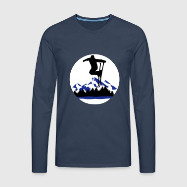 Skiing, Skier and mountains - Men's Premium Longsleeve Shirt