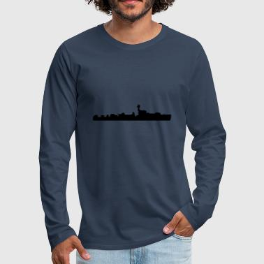 Vector Navy warship Silhouette - T-shirt manches longues Premium Homme