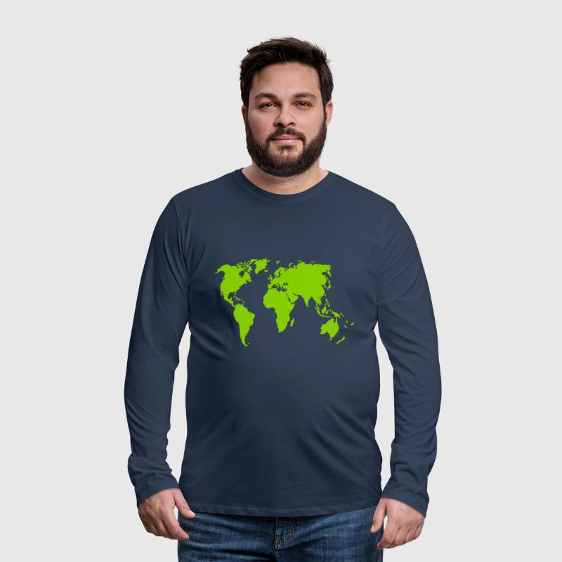 Earth, world map - Men's Premium Longsleeve Shirt