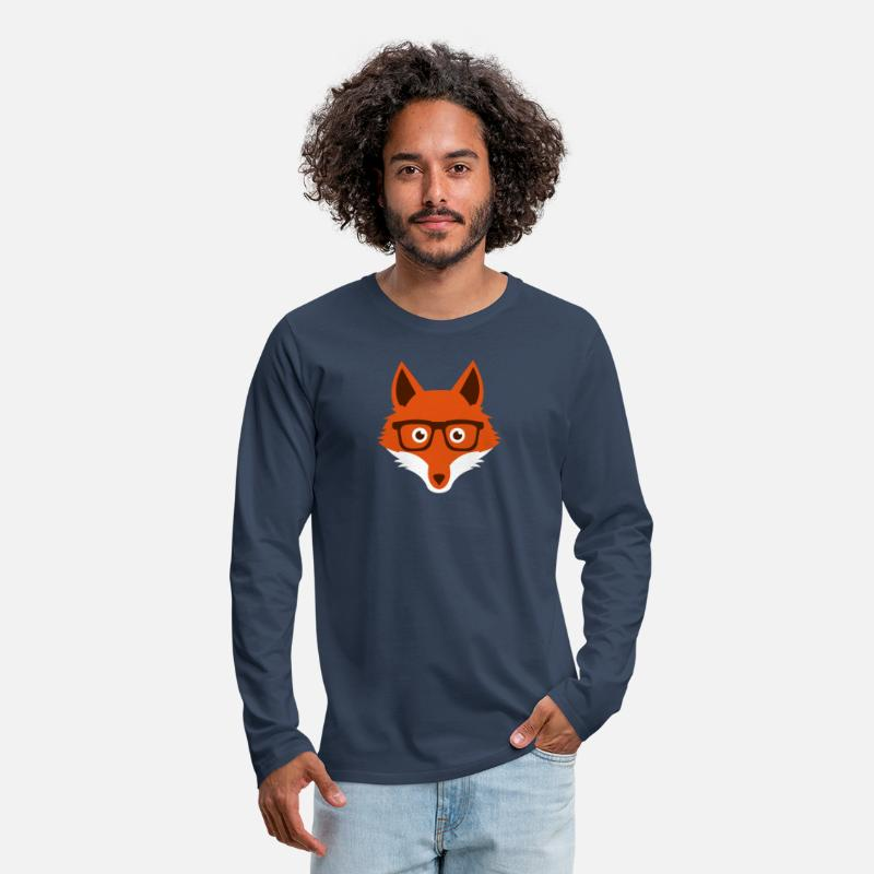Geek Manches longues - Sweet Funny hipster fox with nerd glasses - T-shirt manches longues premium Homme bleu marine