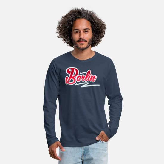 Friedrichshain Long sleeve shirts - Berlin - Men's Premium Longsleeve Shirt navy