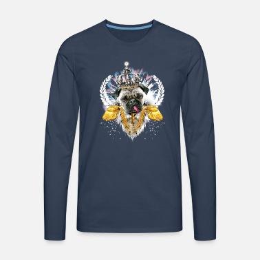 Pug Kongen epåletter krone kryss hund konge Retro T skjorte