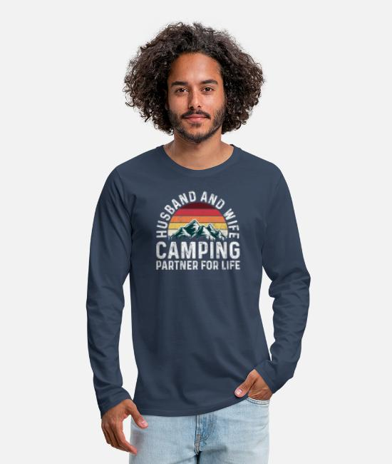 Tent Long-Sleeved Shirts - Husband And Wife Camping Partners For Life Funny - Men's Premium Longsleeve Shirt navy