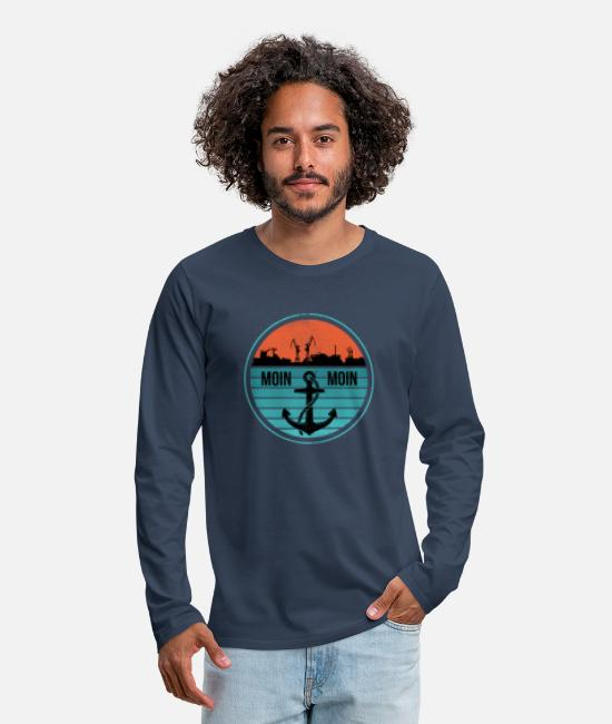 Northern Germany Long-Sleeved Shirts - Low German North German North Germany Harbor - Men's Premium Longsleeve Shirt navy