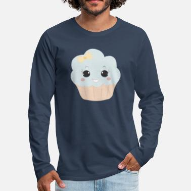 Beady Eyes Cute muffin with ribbon button eyes gift - Men's Premium Longsleeve Shirt