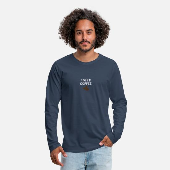 Coffee Bean Long Sleeve Shirts - Coffee cappuccino espresso gift - Men's Premium Longsleeve Shirt navy