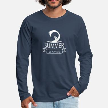 Waves Surfing Summer Surfer Boy Gift T-Shirt - Men's Premium Longsleeve Shirt